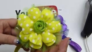 getlinkyoutube.com-Como elaborar flores grandes liston quemado para tiaras de bebe;video 542,Ribbon Hair Bow,