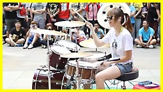 getlinkyoutube.com-Amazing Girl Drummer Does BIGBANG - Fantastic Baby Street Performance