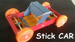 getlinkyoutube.com-How to make a Rubber band Powered Car using  wooden sticks | Creative toy