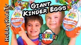 getlinkyoutube.com-Worlds Biggest REAL KINDER MAXI Chocolate Surprise Egg! + IronMan Egg by HobbyKidsTV
