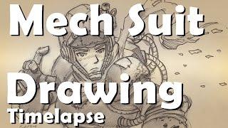 getlinkyoutube.com-Mech Suit Drawing: Timelapse