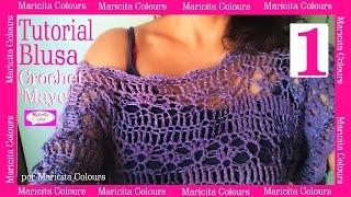 """getlinkyoutube.com-BLUSA Jersey Suéter """"Mayo""""  CROCHET (1) por Maricita Colours Tutorial Gratis Hombro caído"""