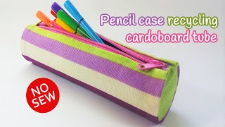 getlinkyoutube.com-DIY crafts: PENCIL CASE recycling cardboard tube NO SEW - Innova Crafts