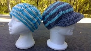 getlinkyoutube.com-Jacobs Ladder Hat - optional Brim / Peak Crochet Tutorial