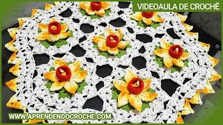 getlinkyoutube.com-Toalha de Centro Crochê Narcisos