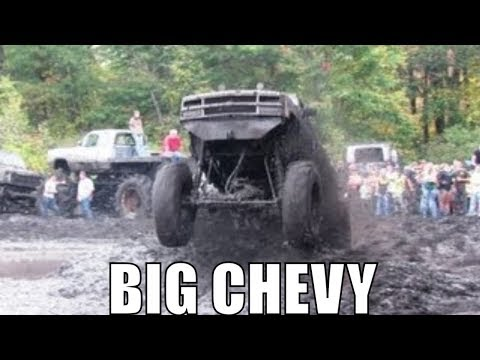Big White Chevy 4x4 Gets AIR At Perkins Mud Bog