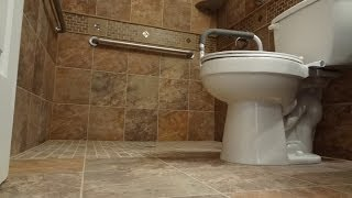 getlinkyoutube.com-Part (1) How to build and tile curbless ( handycap ) walk -in shower.