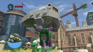 getlinkyoutube.com-LEGO Marvel Super Heroes - Unlocking She-Hulk + Free Roam Gameplay (Character Token Guide)