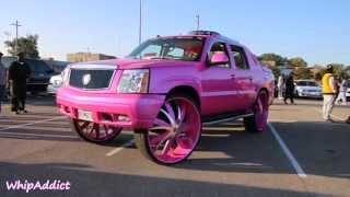 "getlinkyoutube.com-WhipAddict: Cadillac Escalade EXT on 34"" RockStarr Wheels, Kandy Pink for Breast Cancer"