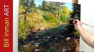 getlinkyoutube.com-How to Paint a Colorado River and Trees - Online Art Classes in Oil or Acrylic Fast Motion Video
