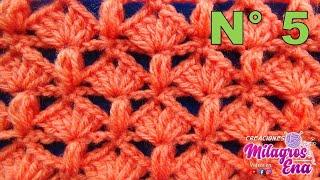 getlinkyoutube.com-Punto tejido a crochet # 5 combinacion de abanicos con puntos garbanzos