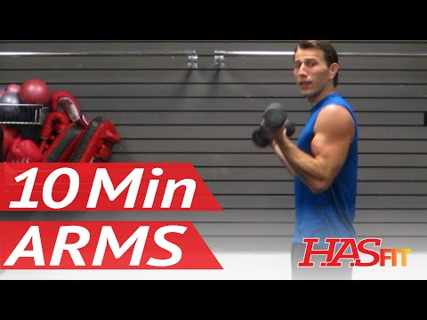 HASfit's 10 Minute Arm Workout - Arm Exercises for Biceps and Triceps - Arm Work Out at Home