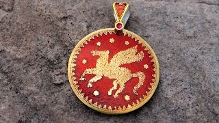 getlinkyoutube.com-Pegasus fine gold on fine silver granulation Cloisonné
