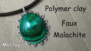 Faux Malachite polymer clay tutorial - cabochon frame.