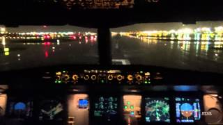 getlinkyoutube.com-Newark KEWR A330-300 Thunderstorm Cockpit Takeoff