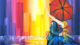 getlinkyoutube.com-Lovers Kiss in the City |  Learn to do Acrylic Painting  for Beginners