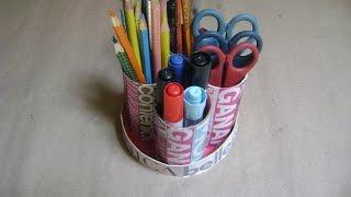 getlinkyoutube.com-Como hacer un portalápices con  tubos  de papel higienico