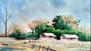 Simple Watercolor Landscape Painting for Beginners   Paint with David  