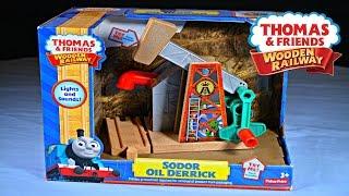 getlinkyoutube.com-SODOR OIL DERRICK 2015 Thomas And Friends Destination Wooden Railway Toy Train Review