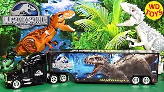 getlinkyoutube.com-Jada 1/64 Jurassic World Peterbilt Model 387 Hauler W Indominus Rex, Unboxing, Review By WD Toys