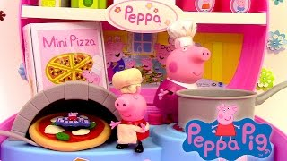 getlinkyoutube.com-Peppa Pig Mini Pizzeria Jouet Playset Play doh ♥ Pizza shop carry case