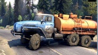 getlinkyoutube.com-SPINTIRES 2014 - The River Map - Ural Fuel Truck Driving to the MAZ 537 Truck to Refuel it
