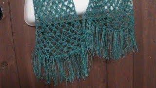 getlinkyoutube.com-Como tejer una bufanda calada a crochet.