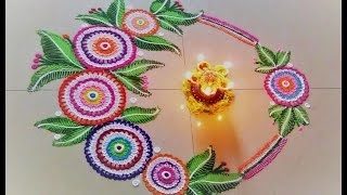 Easy and beautiful Flower Rangoli. Flower Rangoli making,finger techniques