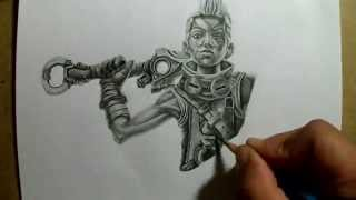getlinkyoutube.com-Pencil Drawing Ekko