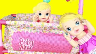 getlinkyoutube.com-BABY ALIVE Doll NEW Pack N Play Crib & Babies Break Doll Bed Furniture Deluxe Play Yard Funny Parody