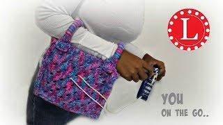 getlinkyoutube.com-Loom Knitting Yarn Holder Bag