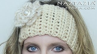 getlinkyoutube.com-DIY Learn How to Crochet Easy Headband Wrap with Flower (Hair Head Band Ear Warmer)