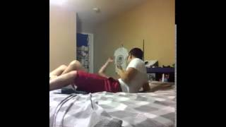 getlinkyoutube.com-Boy Pushing His Girl Friend Off The Bed