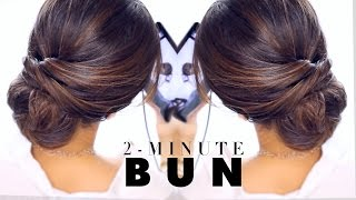 getlinkyoutube.com-2-Minute Elegant BUN Hairstyle  ★ EASY Updo Hairstyles