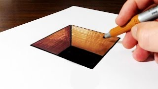 How to Draw 3D Hole on Paper for Kids - Very Easy Trick Art!