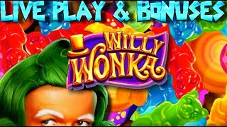getlinkyoutube.com-Live play on Willy Wonka Slot Machine with Bonuses and Big Win!!!