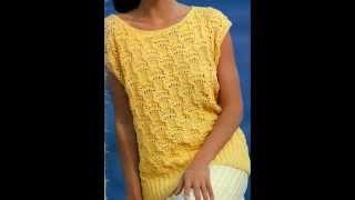 getlinkyoutube.com-Patrón para tejer blusa larga a 2 agujas y terminación ganchillo