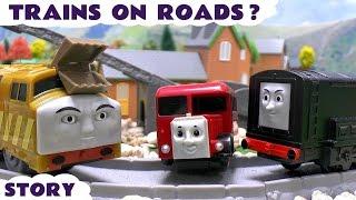 getlinkyoutube.com-Thomas The Train Trains On The Roads | Kinder Minions Surprise Eggs | Disney Cars | Mickey Mouse