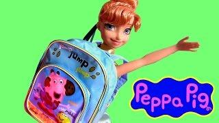 getlinkyoutube.com-Peppa Pig Backpack Surprise Muddy Puddles - Mochila Surpresa Princess Anna & Elsa Back to School