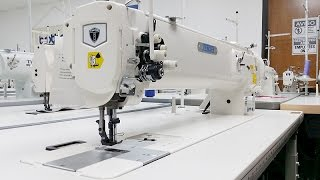 getlinkyoutube.com-THOR GC-1560L-25 Long Arm Double Needle Walking Foot Sewing Machine