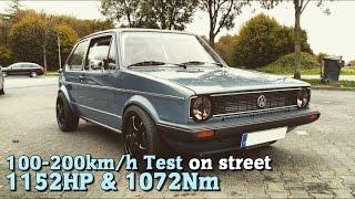 getlinkyoutube.com-VW Golf MK1 4Motion 1152HP 100-200 test on street 2015