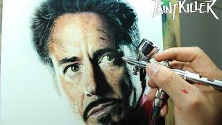 getlinkyoutube.com-Painting Iron Man / Airbrush Iron man - Tony Stark