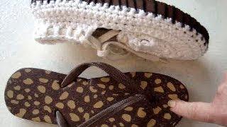 getlinkyoutube.com-ADD RUBBER SOLES TO CROCHET SANDALS, how to make outdoor crochet sandals