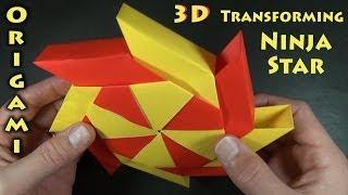 getlinkyoutube.com-Origami 3-D Transforming Ninja Star designed by Ray Bolt