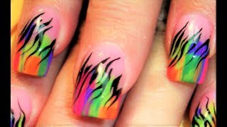 getlinkyoutube.com-Striped Rainbow Zebra Print Nails | Neon Nail Art Design Tutorials