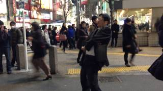 Crazy drunk salaryman in Shibuya