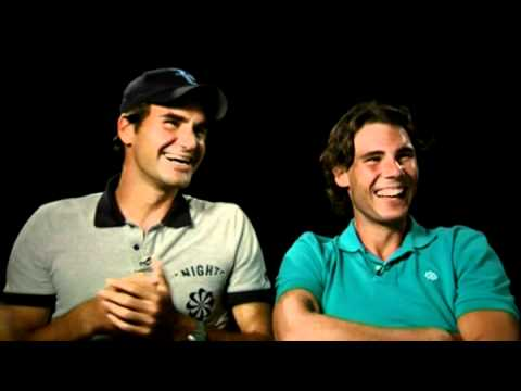 Roger Federer and Rafael Nadal at the shooting of a promotional spot for their charity match