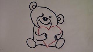 getlinkyoutube.com-Teddybär zeichnen. Kuschelbär malen. Zeichnen lernen für Anfänger. How to draw Teddy bear