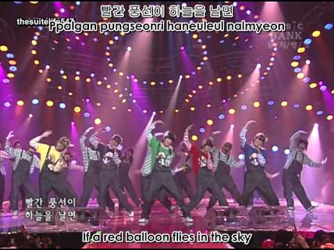 DBSK - Balloons [Music Bank] (06.12.10) ~Super Mario~ {Hangul, Romanization, Eng Sub}