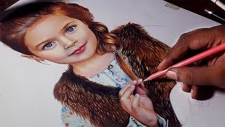 A child portrait -- Colored pencil drawing timelapse.